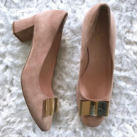 365ad412deb3 kate spade Shoes - NEW Kate Spade Dijon Suede Gold Bow Pump Heels